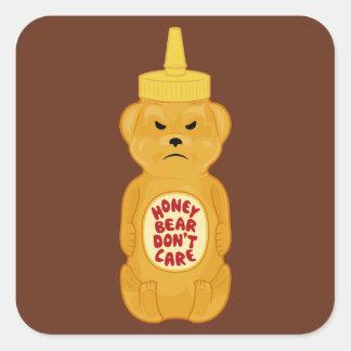 Oso de miel pegatina cuadrada