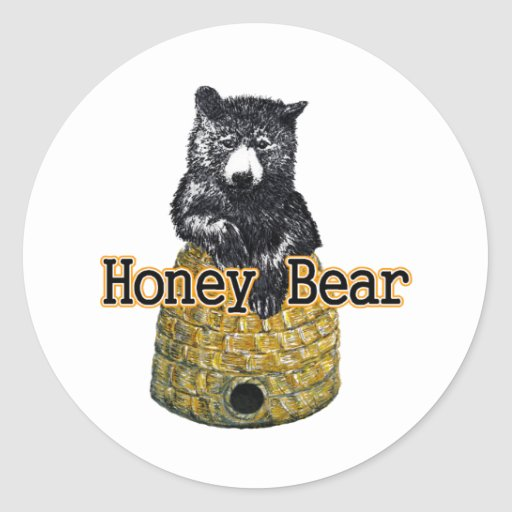 oso de miel pegatina redonda