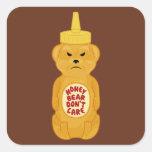 Oso de miel pegatinas cuadradas