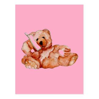 Oso de miel que habla en púrpura del rosa del oso postal