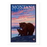 Oso de MontanaMomma y viaje del vintage de Cub Tarjeta Postal