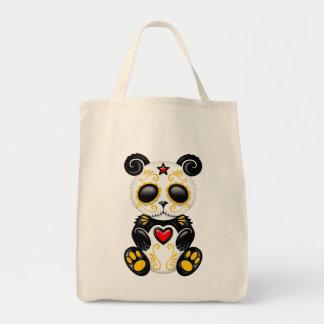 Oso de panda amarillo y rojo del azúcar del zombi bolsa de mano