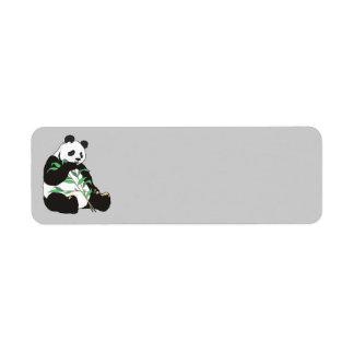 Oso de panda animado etiqueta de remite