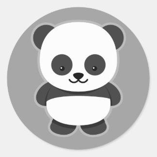 Oso de panda animado pegatina redonda