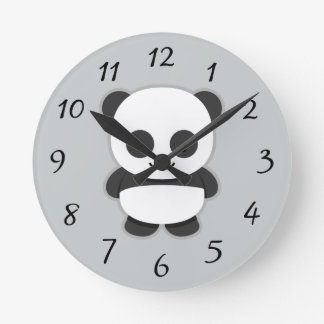Oso de panda animado reloj redondo mediano