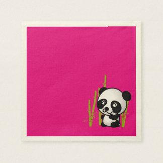 Oso de panda blanco y negro lindo en una arboleda servilletas de papel