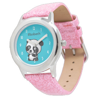 Oso de panda blanco y negro lindo personalizado reloj
