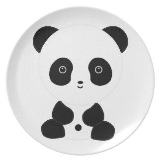 Oso de panda blanco y negro platos para fiestas