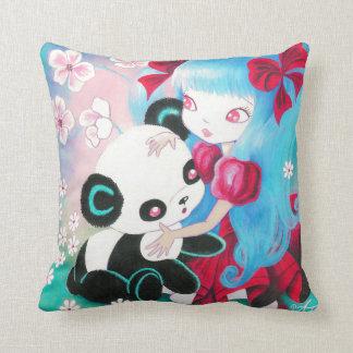 Oso de panda con el chica de Kawaii Almohadas