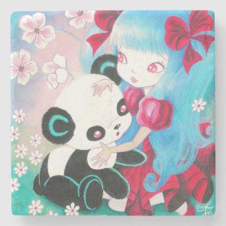 Oso de panda con el chica de Kawaii Posavasos De Piedra