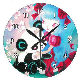 Oso de panda con el chica de Kawaii Reloj Redondo Grande