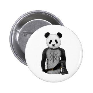 Oso de panda con el martillo del Thor Pin Redondo De 2 Pulgadas