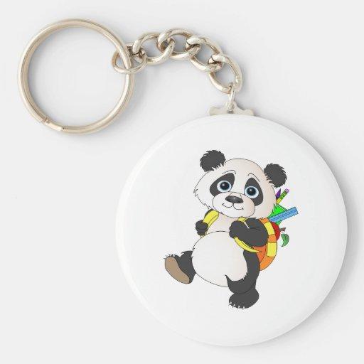 Oso de panda con la mochila llavero