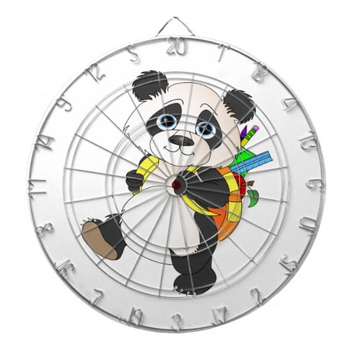 Oso de panda con la mochila tablero de dardos