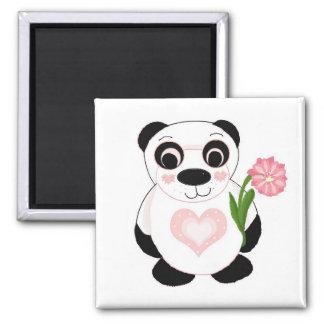 Oso de panda con las flores imán cuadrado
