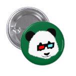 Oso de panda con los vidrios 3D Pin Redondo 2,5 Cm
