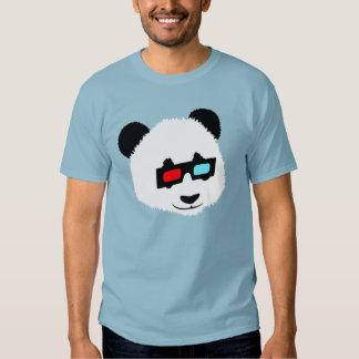 Oso de panda con los vidrios 3D Playeras