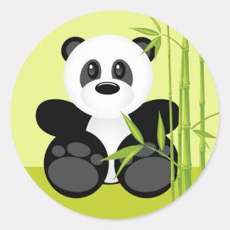Oso de panda de bambú pegatina redonda