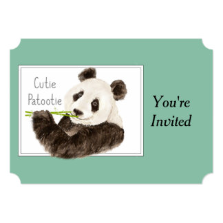 """Oso de panda de encargo de Cutie Patootie de la Invitación 5"""" X 7"""""""