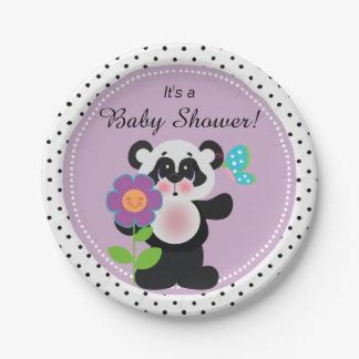 Oso de panda de encargo del bebé adorable platos de papel