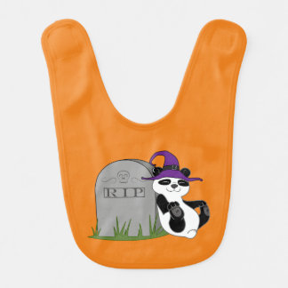 Oso de panda de Halloween con la piedra grave Baberos Para Bebé