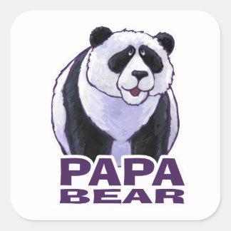 Oso de panda de la papá pegatina cuadrada