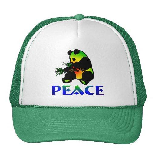Oso de panda de la paz gorras