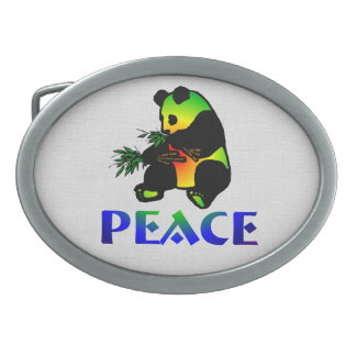 Oso de panda de la paz hebillas cinturon ovales