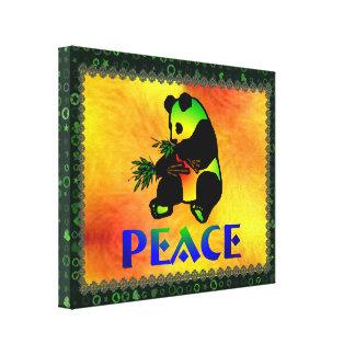 Oso de panda de la paz lona envuelta para galerías