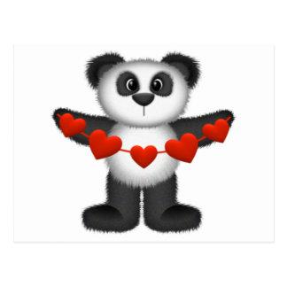 Oso de panda de la tarjeta del día de San Valentín Postal