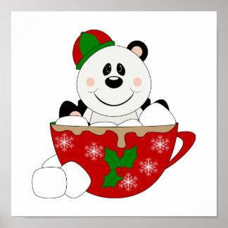 Oso de panda de la taza del navidad de Cutelyn Poster