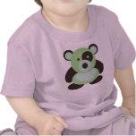 Oso de panda de la verde menta del bebé camiseta