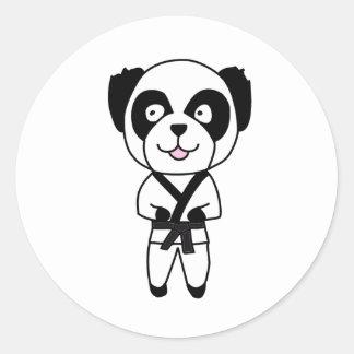 Oso de panda de los artes marciales pegatina redonda