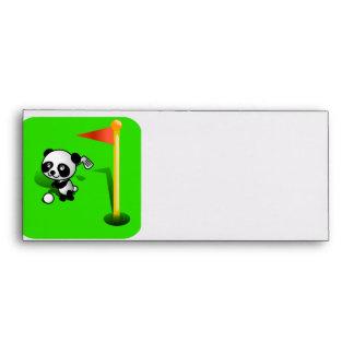 Oso de panda del bebé del dibujo animado Golfing e