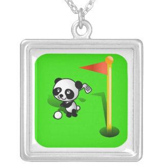 Oso de panda del bebé del dibujo animado Golfing e Joyerías
