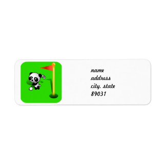 Oso de panda del bebé del dibujo animado Golfing e Etiquetas De Remite
