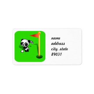 Oso de panda del bebé del dibujo animado Golfing e Etiquetas De Dirección