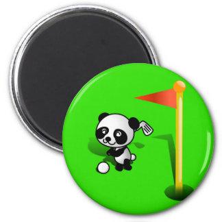 Oso de panda del bebé del dibujo animado Golfing e Iman De Nevera