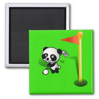 Oso de panda del bebé del dibujo animado Golfing e Imán De Frigorifico