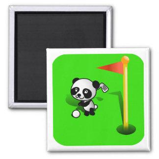 Oso de panda del bebé del dibujo animado Golfing e Iman De Frigorífico