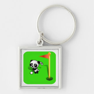 Oso de panda del bebé del dibujo animado Golfing e Llavero