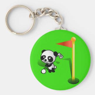 Oso de panda del bebé del dibujo animado Golfing e Llaveros