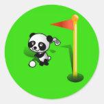 Oso de panda del bebé del dibujo animado Golfing e Etiquetas