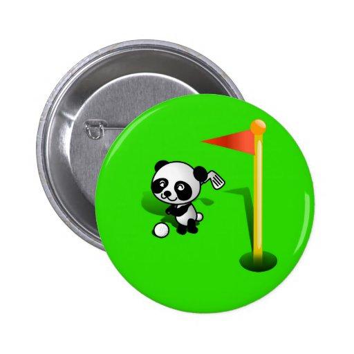 Oso de panda del bebé del dibujo animado Golfing e Pins