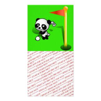 Oso de panda del bebé del dibujo animado Golfing e Tarjetas Fotograficas