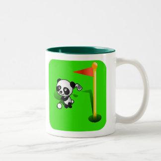 Oso de panda del bebé del dibujo animado Golfing e Taza De Café