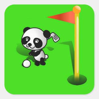 Oso de panda del bebé del dibujo animado Golfing Pegatina Cuadrada