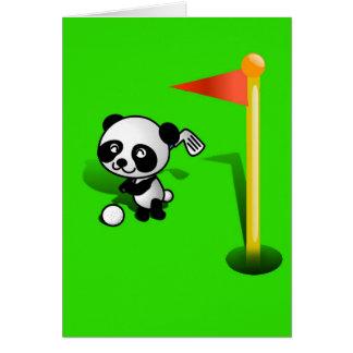 Oso de panda del bebé del dibujo animado Golfing Tarjeta De Felicitación