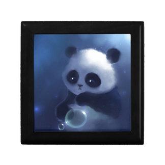 Oso de panda del bebé joyero cuadrado pequeño