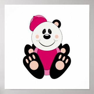 Oso de panda del béisbol de la niña de Cutelyn Poster
